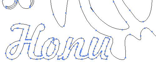 文字を含むデザインすべてのアウトラインを取っている例